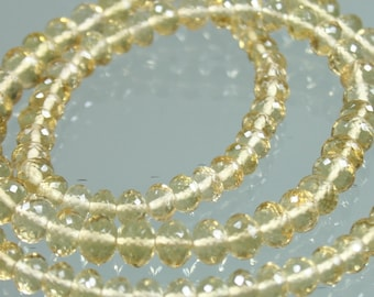 1/2 Strand of TOP QUALITY AAA Honey Quartz Micro-Faceted Rondelles 4mm - 7mm