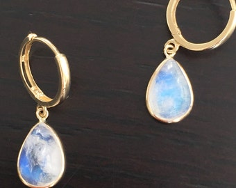 14k solid yellow gold and natural untreated moonstone cabochon earrings , rainbow moonstone, cabochon earrings, dangling earrings