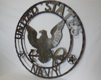 "24"" US NAVY Military Metal Wall Art Western Home Decor Vintage Rustic Dark Bronze Copper New"