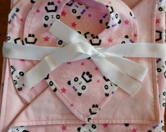 Adorable Handmade Blanket/Burp Cloth/Bib Set- Pink