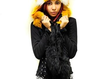 Red panda, faux fur, hood with ears, furry winter scoodie, hat