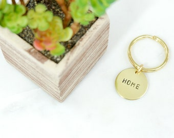 HOME or CUSTOM Word Brass Keychain Hand Stamped