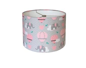 Nursery lampshade etsy pink grey drum lamp shade nursery lampshade baby girl room wall decor aloadofball Images