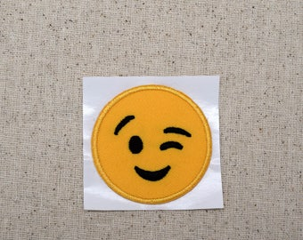 Smiley Face - Emoji - Winking - Iron on Applique - Embroidered Patch - 697084-SA