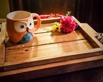 Rustic Tray, rustic decor, Ottoman tray table, wedding gift, wood tray, Wood Serving tray, housewarming gift, breakfast in bed tray