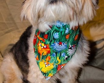 "Dog Bandana - Over the Collar Kitty Print   - Cotton - Dog Scarf -Dog Clothing - Dog Apparel - Puppy Bandana  13 1/2"" by 8 1/2"""