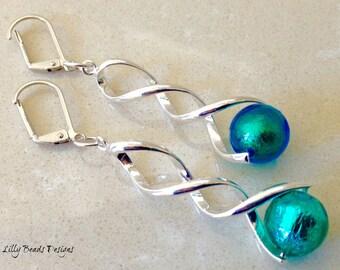 Dangle Earrings,Venetian Glass Earrings,Aquamarine Drop Earrings,Gold Foil Lined Earrings,Blue Earrings,Green Earrings,Shiny Spiral Bails