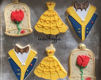 Beauty and the Beast Sugar Cookies|  Perfect For Birthdays And Ather Celebrations | 1 Dozen | Can Make Any Disney princess
