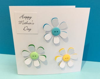Mother's Day Card - Button Flowers - Paper Cut Card, Mothering Sunday Card - Handmade Greeting Card for Mum - Mom