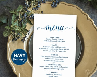 Printable Wedding Menu Template, Navy Blue Menu, Simple and Elegant Menu - Instant DOWNLOAD - Editable Text, MENU008, VW02