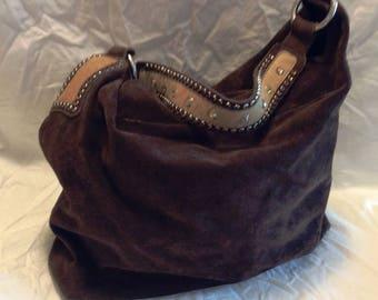 Cowboy Vintage Hobo Leather Rock Bag Brown Suede