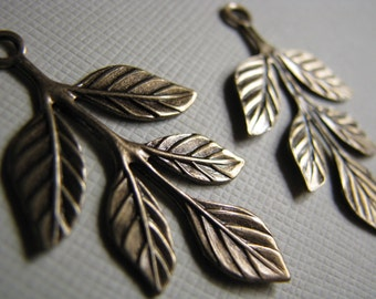 Textured brass leaf charms drops 36x23mm (2)