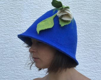 Women sauna hat with flower felted, handmade blue