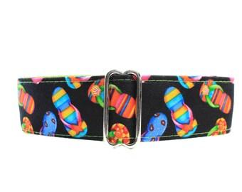 Flip Flops Martingale Collar,  Flip Flops Dog Collar, 1.5 Inch Martingale Collar, Beach Martingale Collar, Beach Dog Collar, Wide Dog Collar