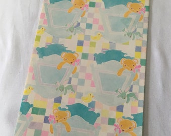 Vintage   Bear in Crib   Baby   Wrapping Paper