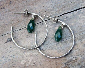 Silver Bamboo Hoop Post Earrings - satin finish, palace green opal Swarovski crystal - Free shipping USA