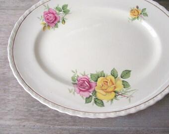 Myott Platter , Vintage Rose Pattern Oval Plate , Myott Sons Ltd England Maid Marion Cottage Chic Mix & Match Roses , Home Wall Decor