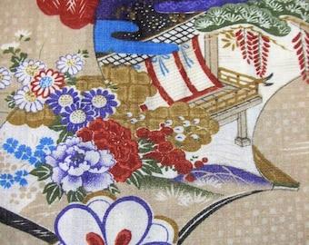 353: Vintage woman's kimono/casual/cotton fabric/material/handmade/japan/flower/beige/ox cart/book/green/blue/purple/garden/peony/white