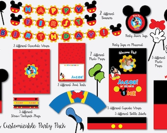 Mickey Mouse Birthday Pack with Photo Booth Props, Backdrop and Photo Booth Photo Frame SUPERSIZED