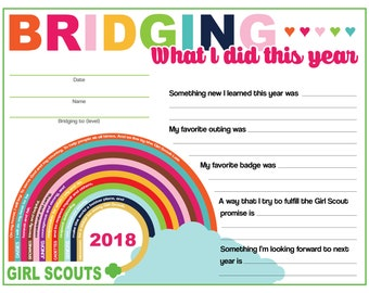 "Girl Scout Bridging ""What I did this year"" keepsake certificate"