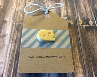 Swiss Cheese Wedge Lapel Pin / Tie Tack - Resin - Foodie Pin - 3D - Tack Backing with Clutch Clasp