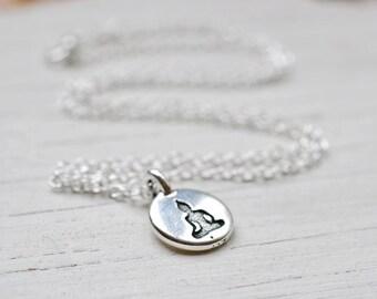 Silver Buddha Necklace, Meditation Buddha Charm, Buddhism Yoga Spiritual Jewelry, Sterling Silver Chain, Be Here Now