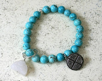 Buddha Bracelet Turquoise Quartz And Four Wishes Charm
