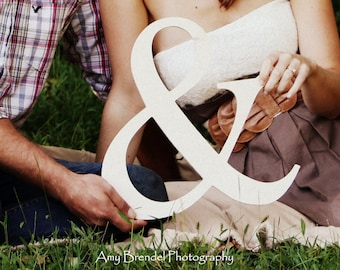 8 inch Ampersand Wooden Letter Photo Prop or Decor, Engagement Pictures, Wooden Sign, Couples Sign, Ampersand Sign, Wooden Shape, Ships Fast
