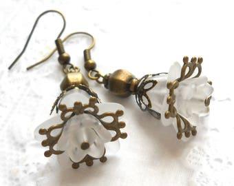 white flower earrings lucite flower earrings dangle earrings white jewelry flower jewelry