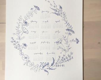 "2018 Floral Calendar     Blue     12""x14"""
