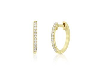 Diamond Hoop Earrings / Diamond Huggies / 14k Solid Gold Huggie Earrings / Tiny Hoop Earrings / 10MM Diamond Hoop Earrings / Fine Jewelry