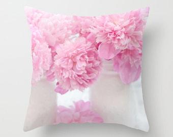Pink Peony Throw Pillow, Shabby Chic Peony Pillows, Pink Peony Pillow, Baby Girl Nursery Throw Pillows, Pink Peonies Decorative Throw Pillow