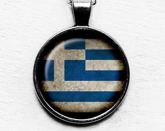 Greece Greek Ελλάδα Flag Pendant & Necklace