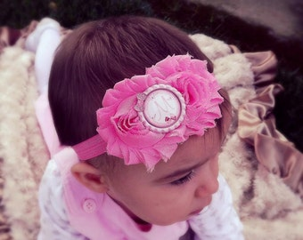 Baby Headband, Personalized Baby Girl Headband, Pink Shabby Chic Headband, Newborn Headband, Personalized Pink Baby Bow, Baby Headbands