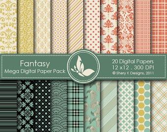 Fantasy Mega Paper Pack - 20 Digital papers - 12 x12 - 300 DPI