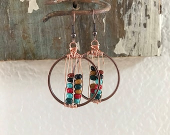 Natural Cherokee Colored Beaded Copper Wire Wrapped Earrings