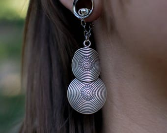 Thai Silver Magnetic Clasp Gauged Earrings