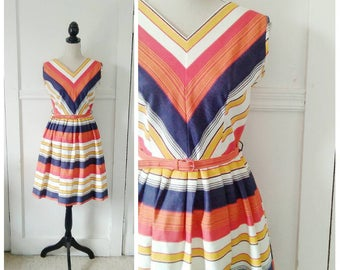The Yacht Club 1950s Red/Orange/Mustard Yellow/Denim/Cream Stripe/Chevron Cotton Dress