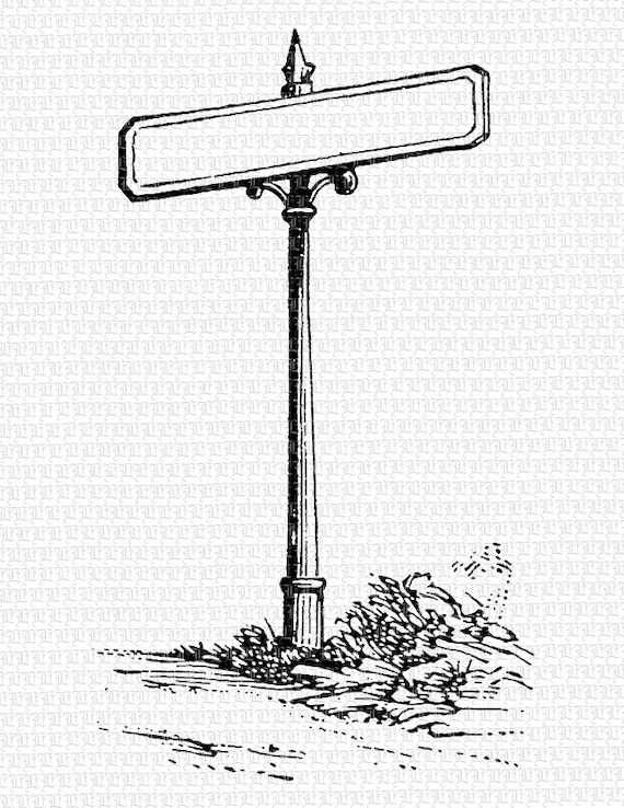 Blank Street Sign Post Vintage Clip Art High Quality Printable - Street sign template