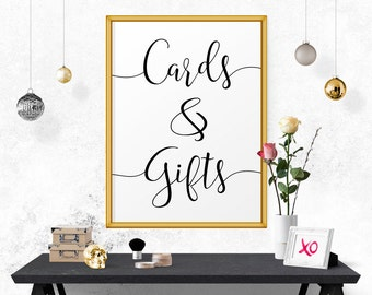 Cards And Gifts Sign, Cards And Gifts, Printable Wedding Sign, Cards And Gifts, Sign For Wedding, Reception Signs, Typography