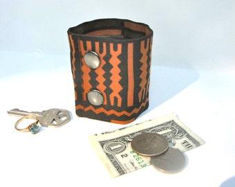 Secret Stash Money Wrist Cuff - African Print- hide your cash, key, jewels, health info  etc in a hidden zipper