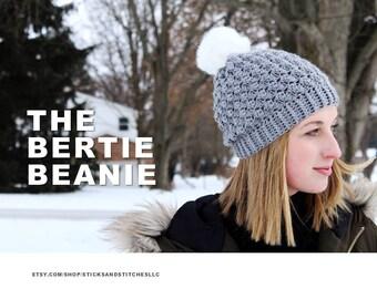 Bertie Beanie Crochet Pattern / / Slouchy Hat / / Pom Hat / / Beanie / / Easy / / Intermediate / / PDF Tutorial