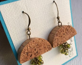Recycled Wine Cork Earrings with Green Grape Clusters