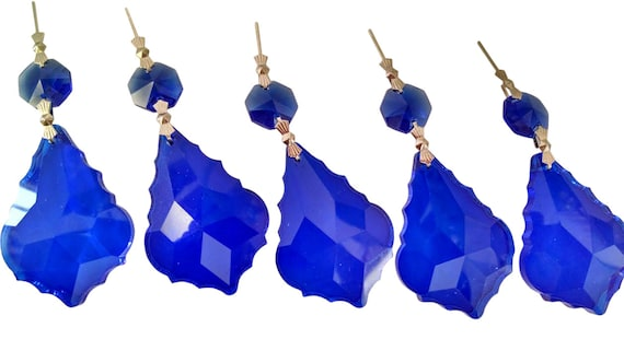 5 cobalt blue 50mm french chandelier crystals pendalogue mozeypictures Gallery