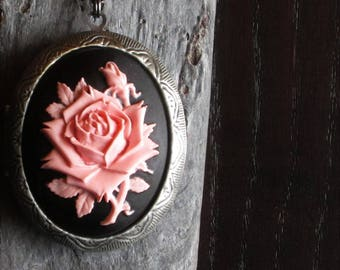 Pink rose cameo locket, pink  rose cameo necklace, pink cameo, large locket, long necklace, rose jewelry, cameo jewelry, gift ideas for mom