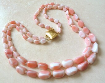 Vintage Pink Necklace, Marbled Pink Glass,  Double Stranded Necklace.