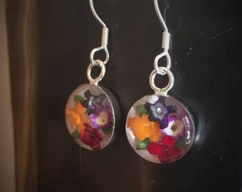 Real Miniature Multicolor Flowers Earrings with White Background
