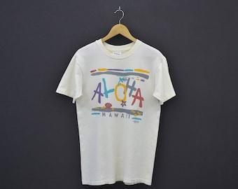 Aloha Shirt Vintage Aloha T Aloha Hawaii Vintage T Vintage Rivaltees Surf T Made in USA by Hanes Beefy Mens Size M