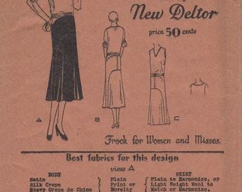 Bust 35-FACTORY FOLDED 1920's Misses Dress/Frock Butterick Deltor 3094 Sz 17