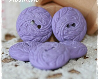 5 round buttons Fimo - MAUVE - 1.6 cm - set of 5.